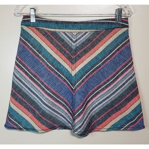 Free People Mini Colored Stripes Skirt